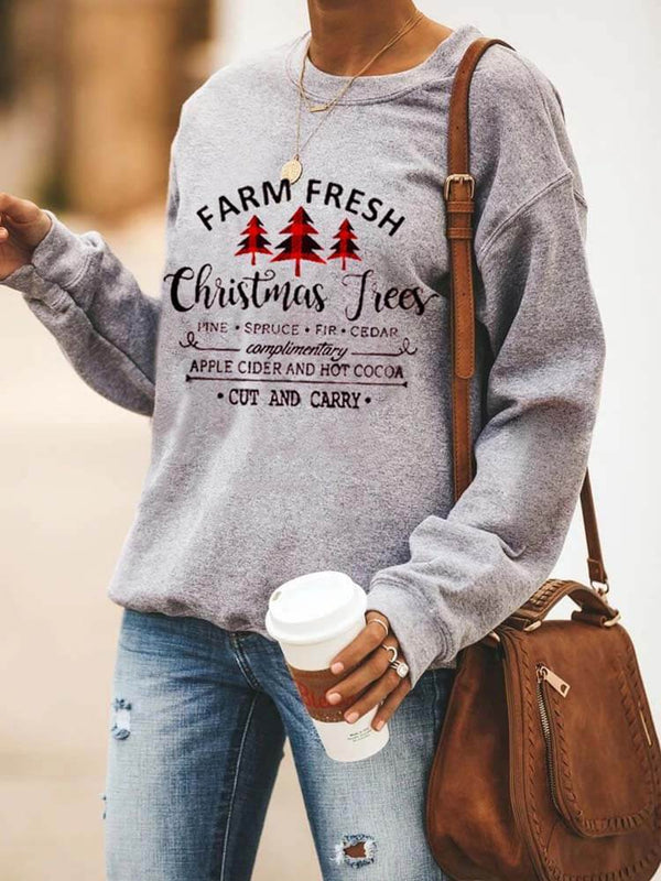 Christmas Trees Printed Crew Neck Sweatshirt