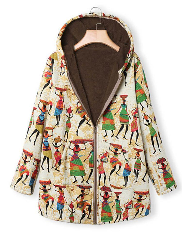 Women Winter Printed Zipper Hooded Coat
