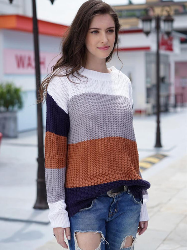 Color Block Crew Neck Long Sleeve Sweater