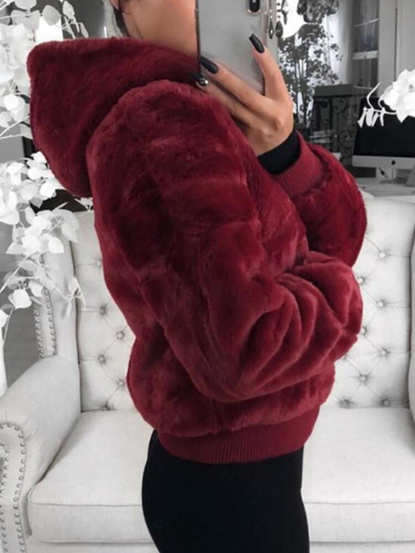 Fluffy Solid Long Sleeve Zipper Pocket Hooded Coat