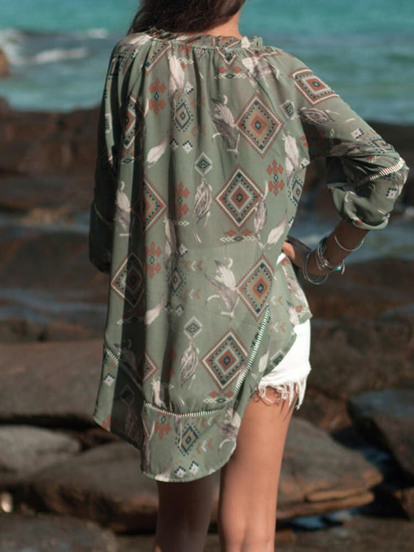 Geometric Printed Long Sleeve Top