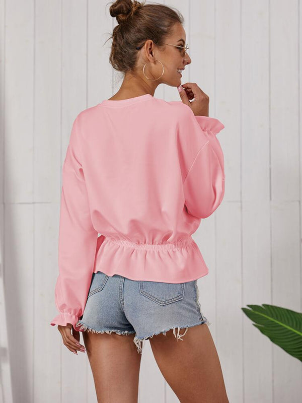Solid Color Ruffle Crew Neck Top