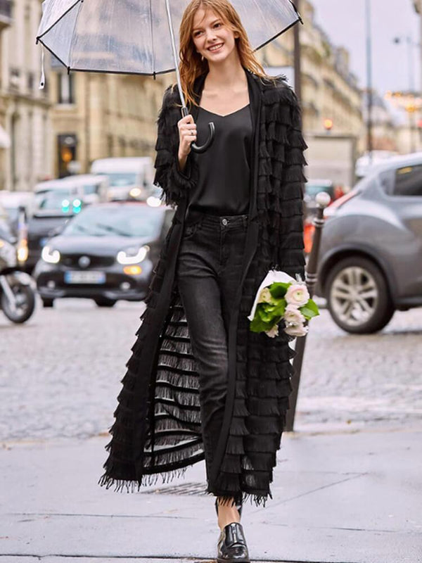 Women Long Sleeve Tassel Coat