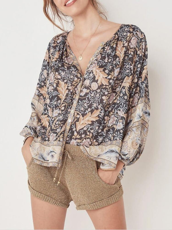 Printed Long Sleeve Button Top