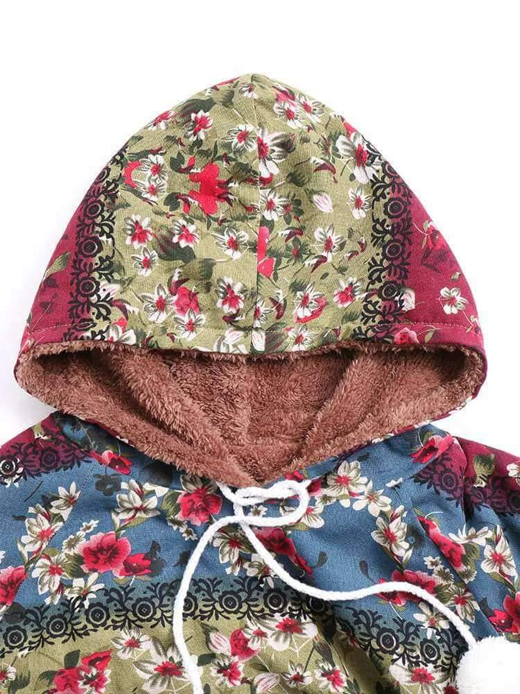 Long Sleeve Floral Printed Hooded Cape Cloak