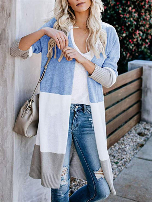 Color Block Long Sleeve Casual Cardigans