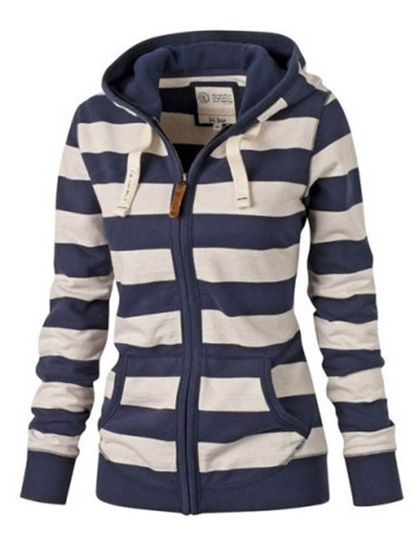 Casual Stripe Zipper Pocket Hoodies