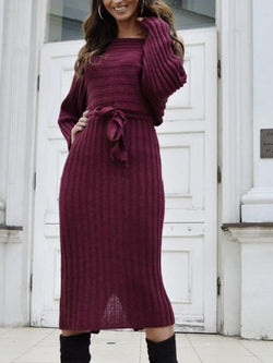 Date Work Slit Knitted Sweater Dress