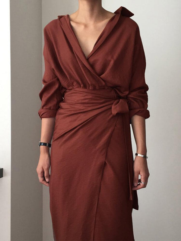 Bodycon V Neck Plain Midi Dress