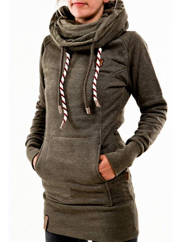 Cowl Neck Casual Drawstring Hoodies
