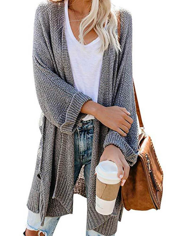 Daily Women Long Sleeve Solid Color Cardigans