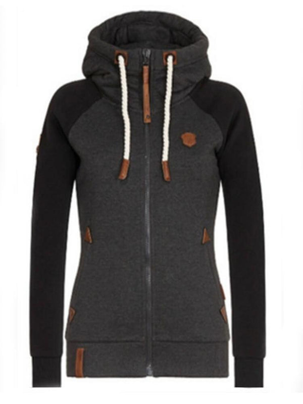 Color Block Zipper Daily Sport Hoodie