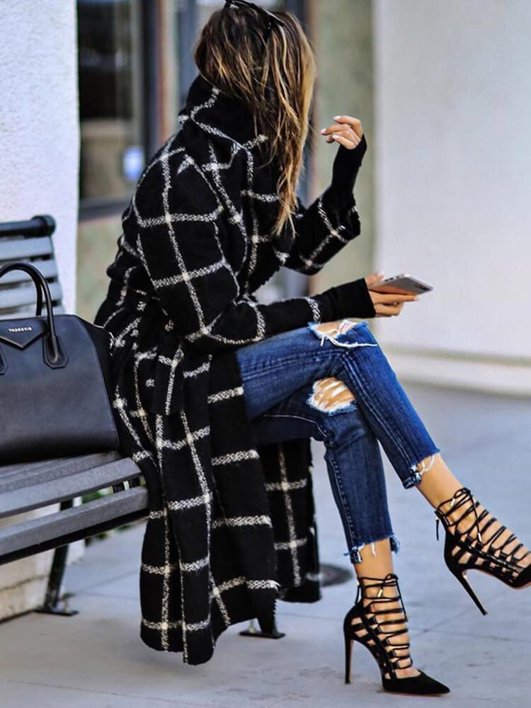 Plaid Date Work Mid-length Coat