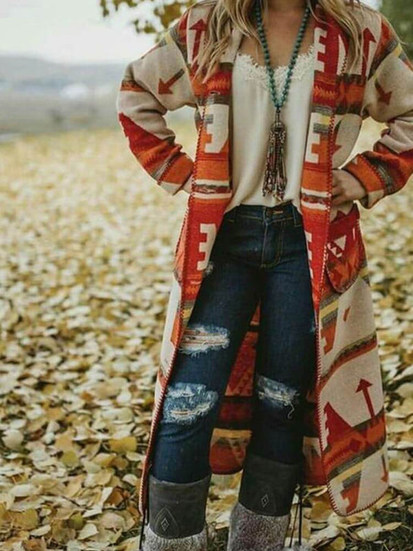 Printed Boho Casual Long Coats