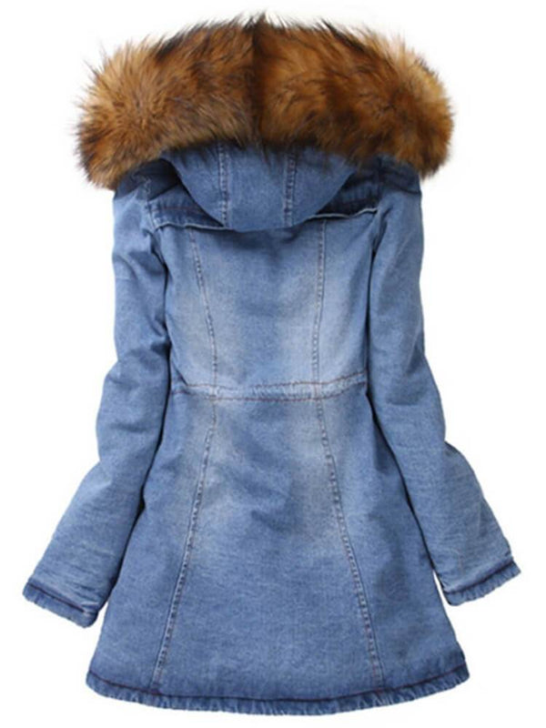 Casual Zipper Hooded Denim Jacket