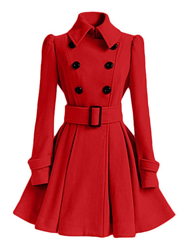 Elegant Lady A-line Trench Coats with Belt