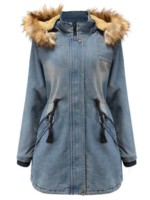 Women Zipper Hooded Drawstring Denim Coat