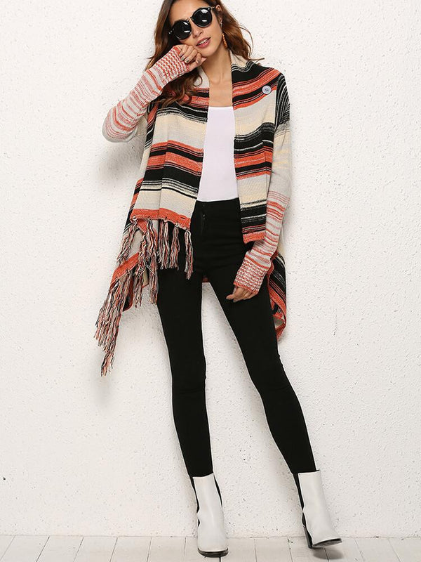 Long Sleeve Stripe Tassel Cardigans