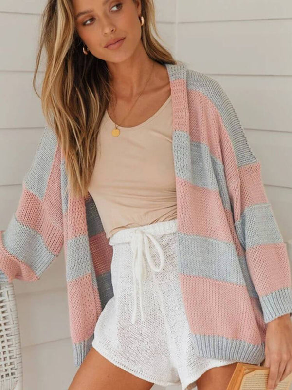 Pink Stripe Long Sleeve Cardigans