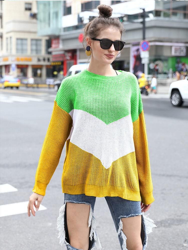 Color Block Long Sleeve Crew Neck Sweaters
