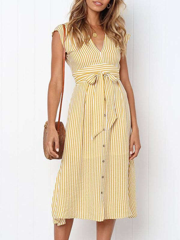V Neck Casual Striped Dress