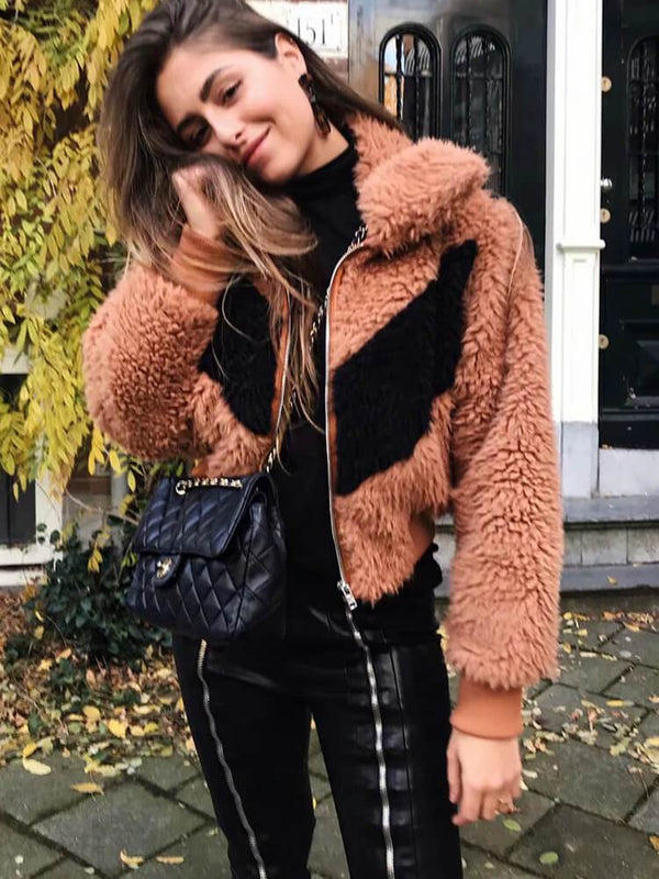 Shirt Collar Zipper Faux Fur Jackets
