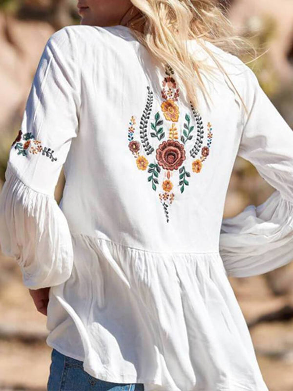 Balloon Sleeve Embroidered Boho Tops
