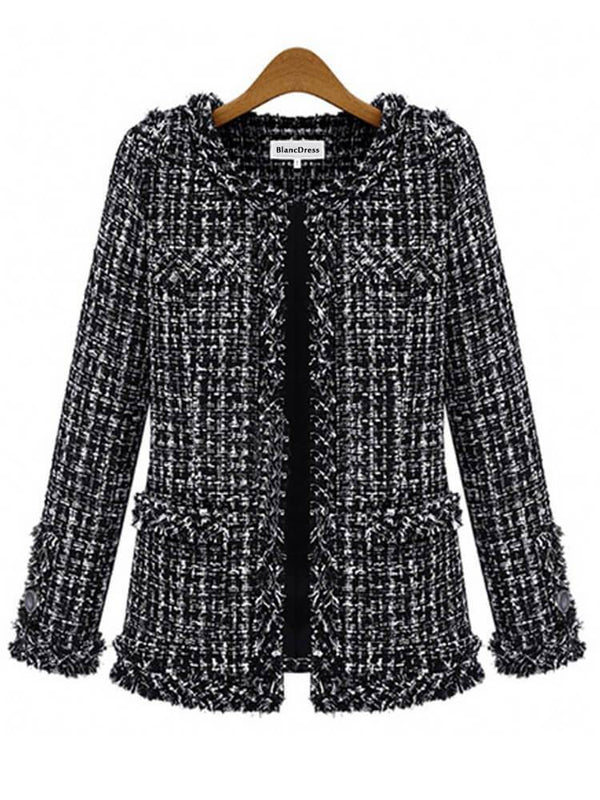 Women Work Date Winter Black Coat