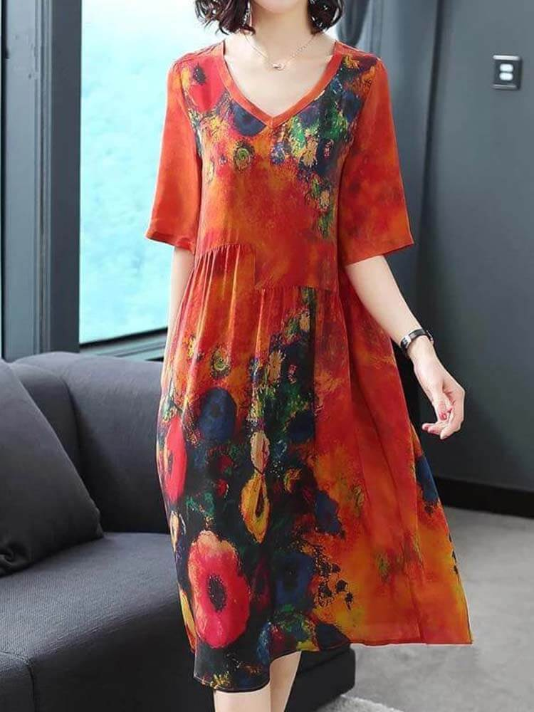 V-neck Printed Soft Silk Dress