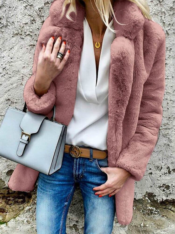 Long Sleeve Winter Faux Fur Coat