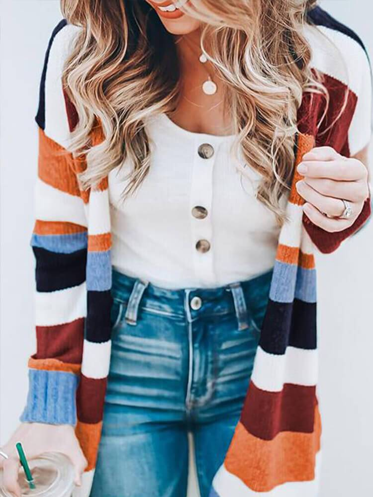 Long Sleeve Women Stripe Cardigans