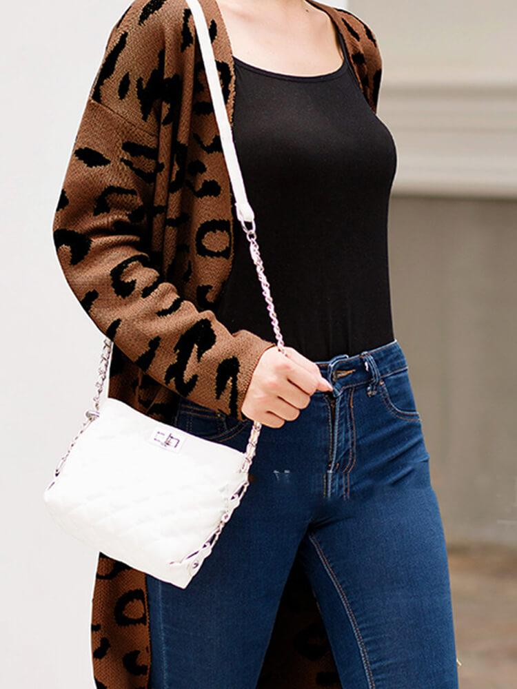 Women Leopard Long Sleeve Cardigans