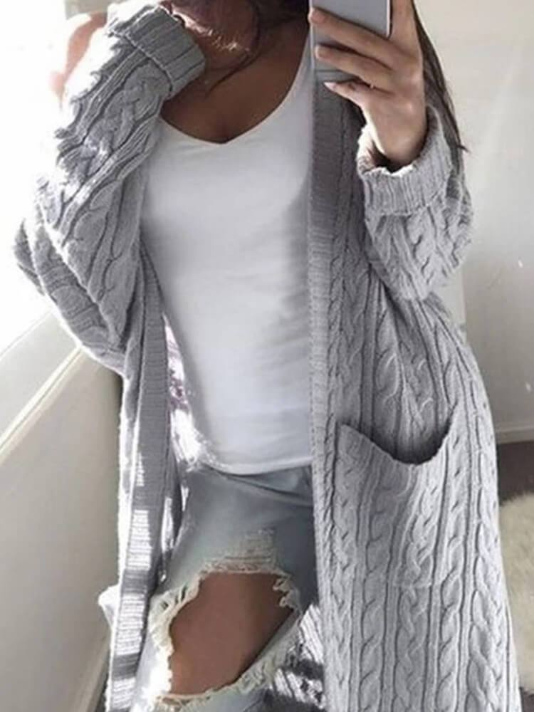 Solid Color Pocket Twist Sweater Cardigan