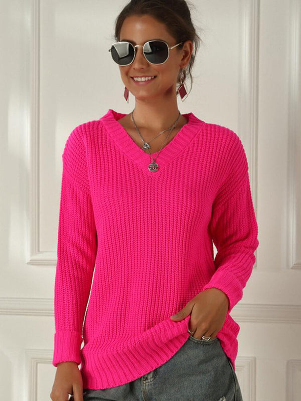 Fluorescent V-neck Ladies Sweater