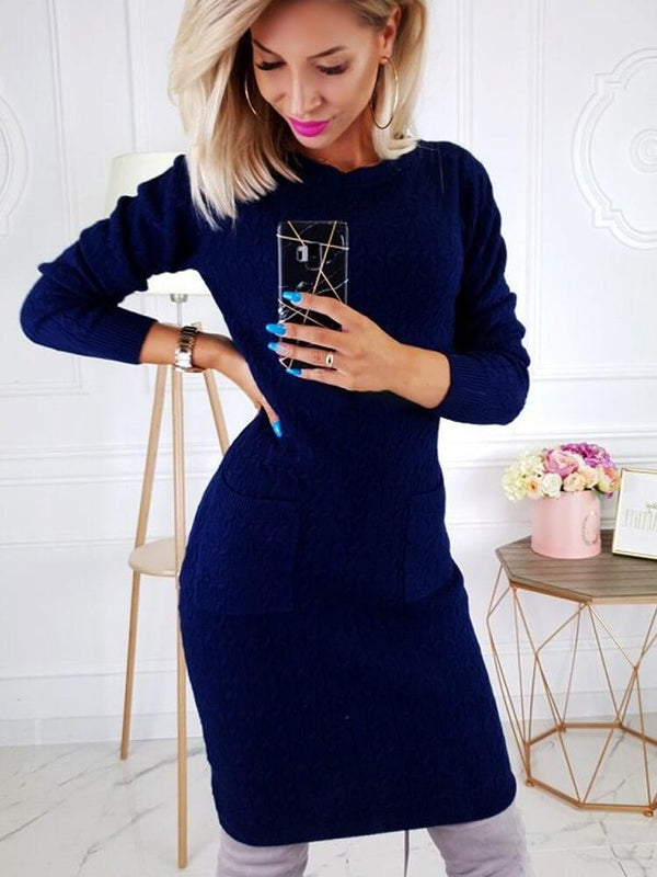 Crew Neck Long Sleeve Sweater Dress for Women