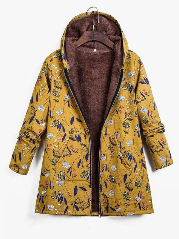 Floral Long Sleeve Cotton Zipper Hooded Coat