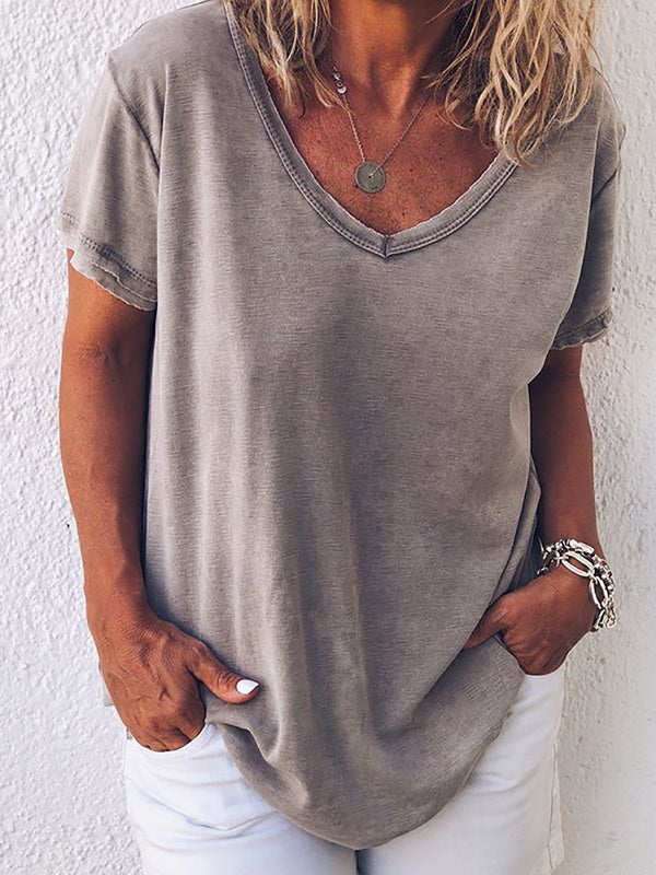 Short Sleeve V-neck Solid T-Shirts