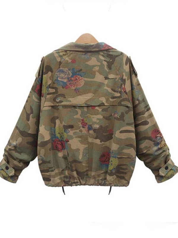 Shawl Collar Camo Cropped Jackets