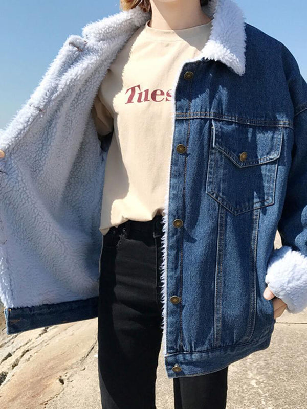 Winter Plush Casual Denim Jacket
