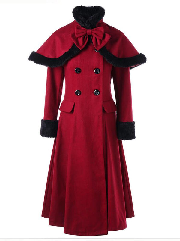 Red Christmas A-line Coat with Shawl