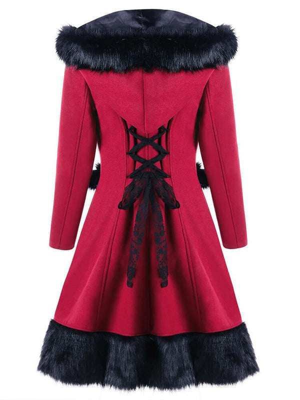 Christmas Women Red A-line Hooded Coats