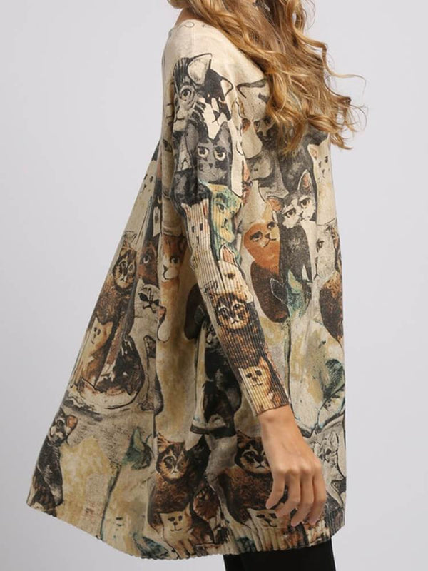 Batwing Cute Cats Printed Tunics