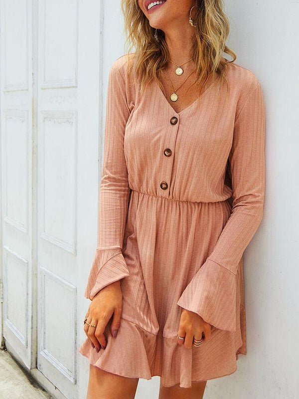 Bell Sleeve V Neck Flounce Mini Dress