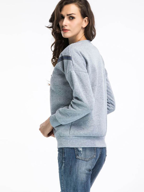 Crew Neck Casual Bow Sweatshirt
