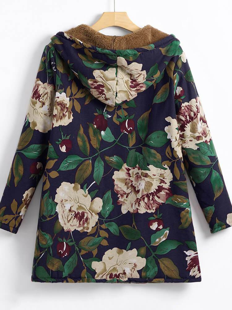 Vintage Floral Zipper Hooded Coat