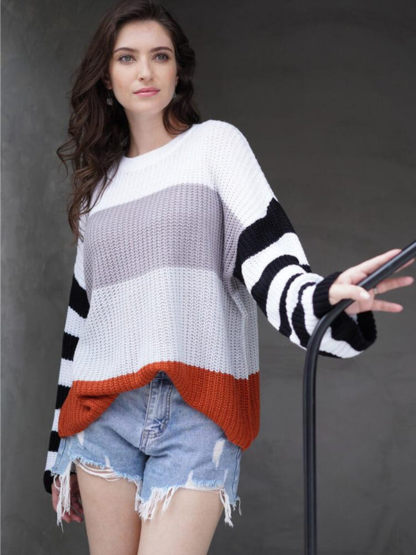 Casual Color Block Stripe Crew Neck Sweater