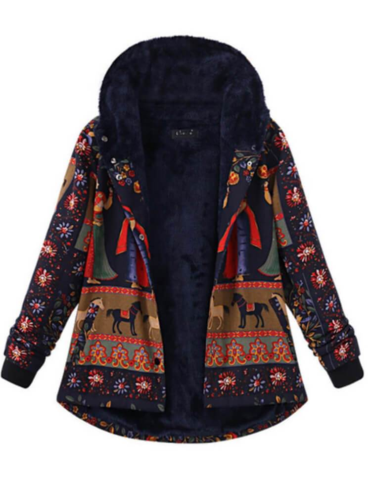 Women Floral Printed Hooded Warm Coat