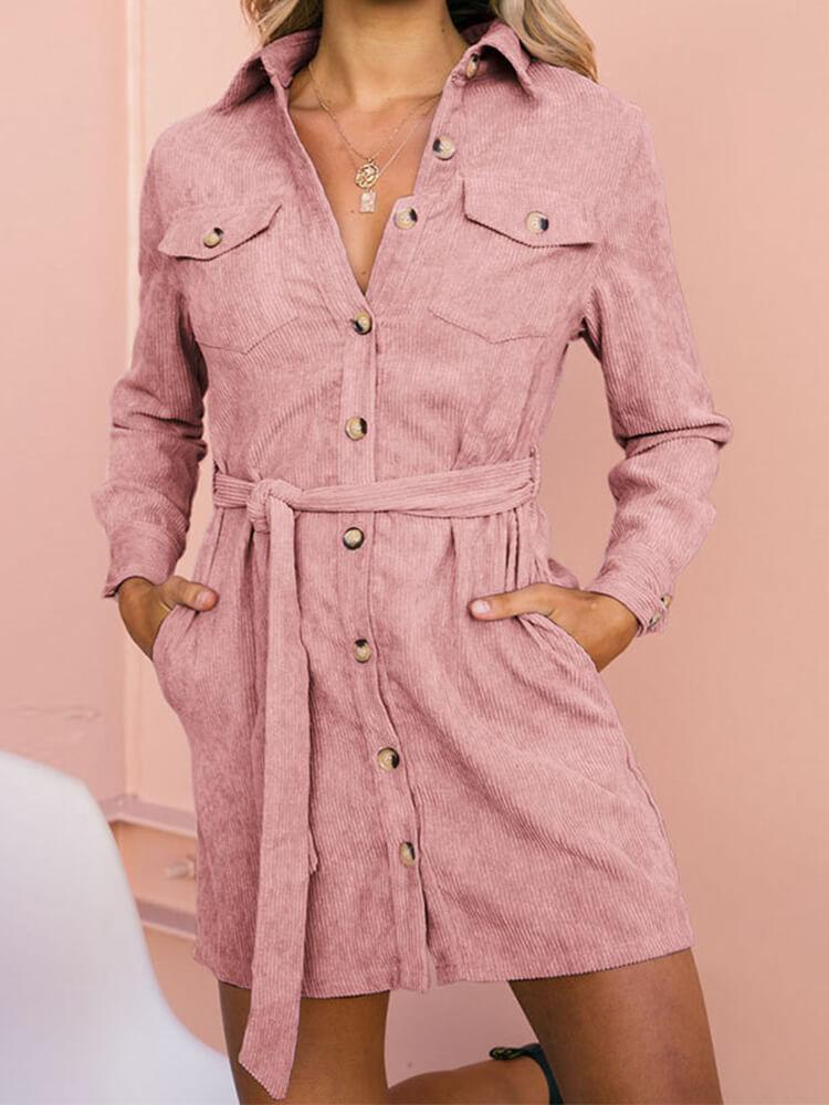 Corduroy Shirt Collar Long Sleeve Mini Dress