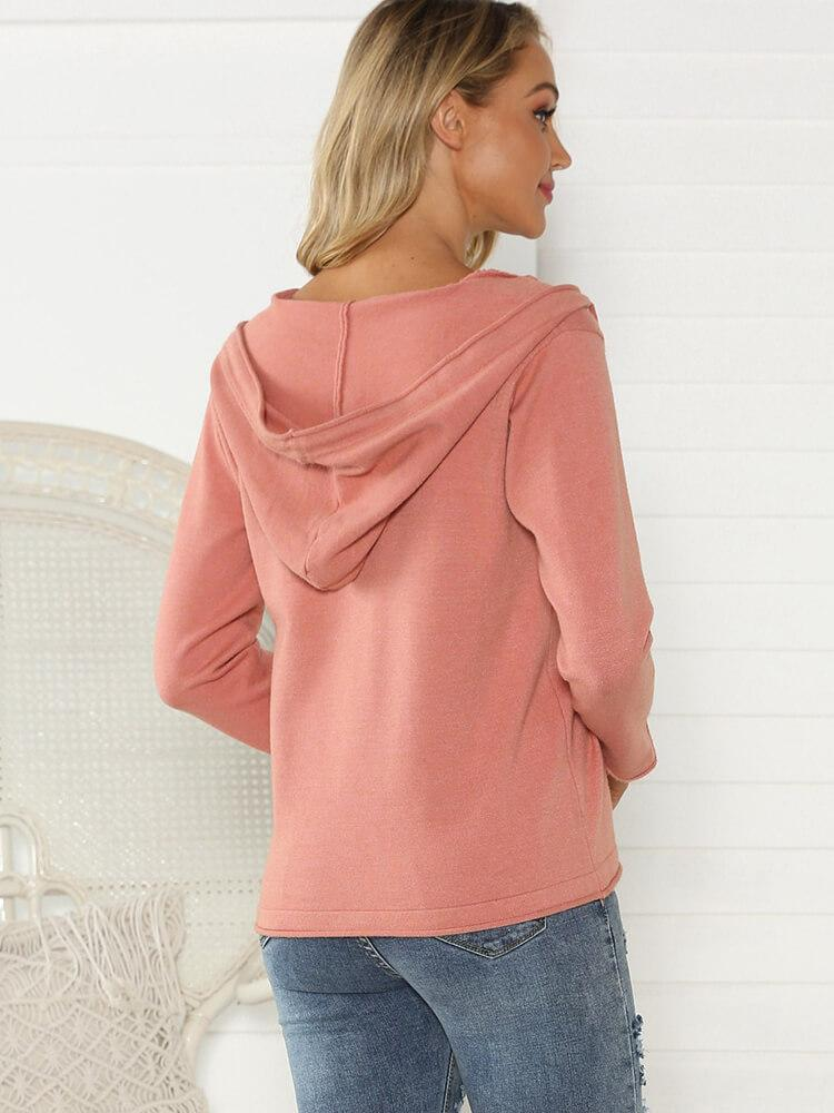 Pink Drawstring Long Sleeve Hoodies