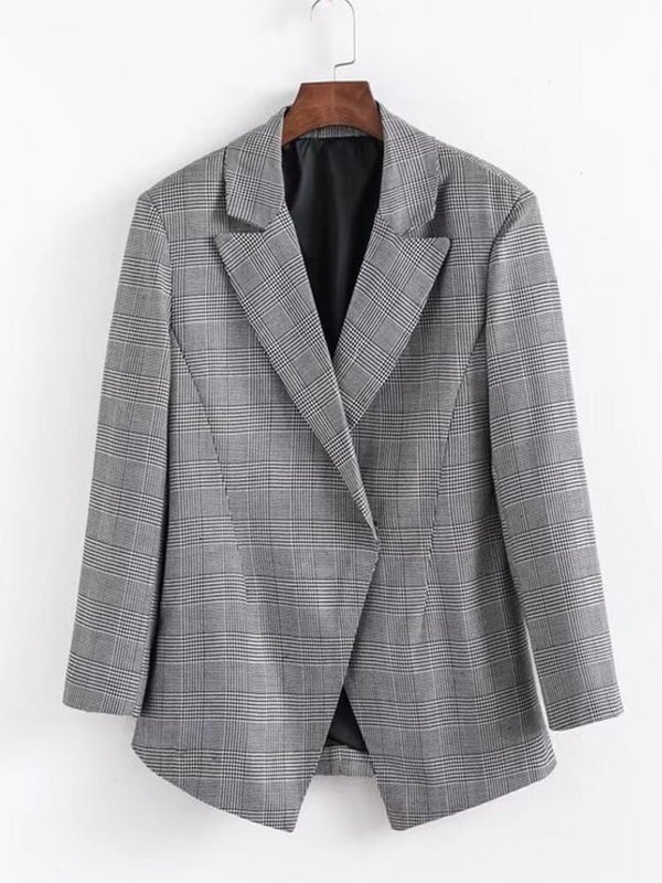 Women Plaid Long Sleeve Work Blazers